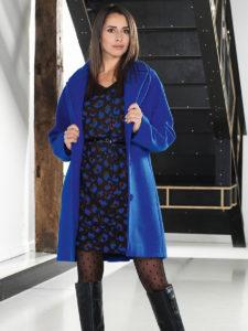 """Manteau femme bleu et robe imprimée noire et bleu - Espace """"LB Femme"""""""